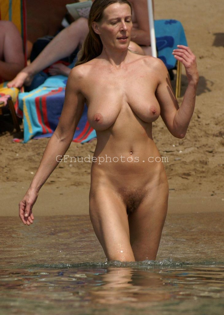 sexy milf nude topless boobs hairy pussy on the beach