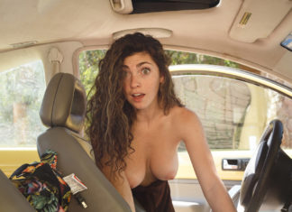 My exgf topless getting ready to have sex with me in car
